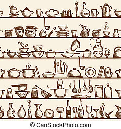 Kitchen utensils on shelves, sketch seamless pattern -...