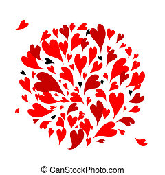 Red hearts background for your design