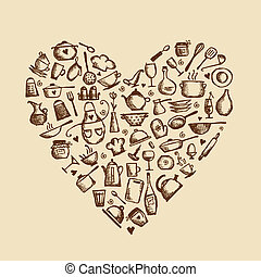 I love cooking Kitchen utensils sketch, heart shape for your...