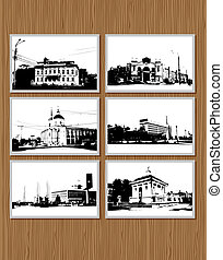 Set of city pictures on wooden wall for your design