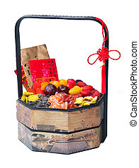 Dried fruits on chinese new year background - Dried fruits...