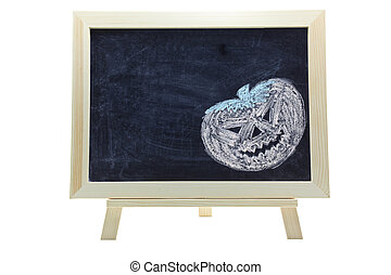 halloween concept - chalk drawing of halloween concept on...