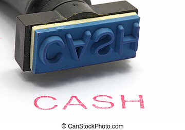 rubber stamp Cash - closeup of cash letter on rubber stamp...