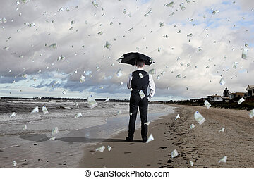 Business person under money rain - Image of a business...