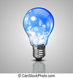 Electric light bulb and blue sky inside it - Electric light...