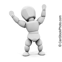 Happy person - 3D render of someone with their arms raised...