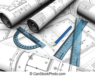 Engineering plan - Modern engineering plan with pencil and...