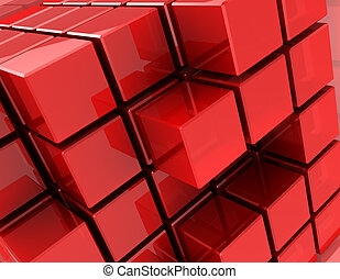 Red cubes - 3d of red different digital cubes