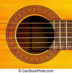 guitar sound hole - Close-up of sound hole of classic guitar