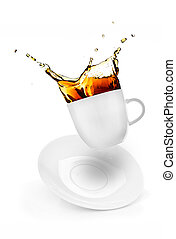 cup of spilling coffee creating splash isolated