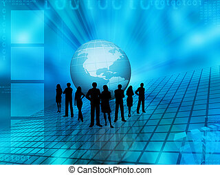 World trading - Silhouettes of a business team on an...