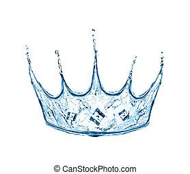 coroa, feito, água, respingo