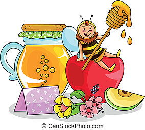honey and apple - bee sitting on an apple next to a honey...