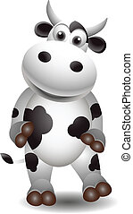 cute black and white cow - vector illustration of cute black...