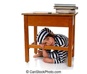 School Blues - An elementary girl in striped prison garb...