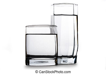 Two glasses of water on white background