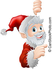 Santa peeking and pointing - Cute cartoon Santa peeking...