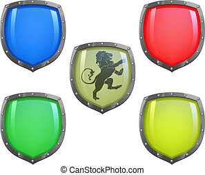Shields in different colours - Illustration of shield in 5...