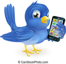 Bluebird with mobile phone - Illustration of a cute happy...