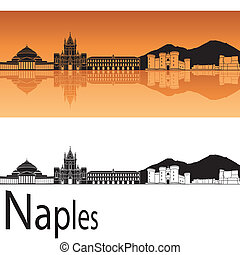 Naples skyline in orange background in editable vector file