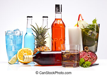 Exotic alcohol drinks set with fruits