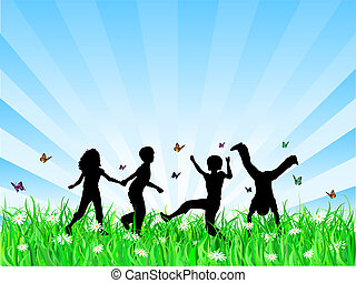 Children playing - Silhouettes of children playing in grass