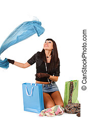 young asian woman over shopping bag