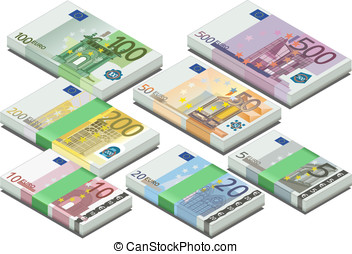 isometric full set of euro banknotes - detailed illustration...