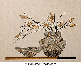 parete, decorazione, tegole, ceramica, colorito