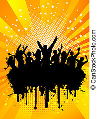 Grunge party crowd - Silhouette of a crowd on a grunge...