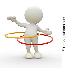 Hula hoop - 3d people - man, person with hula hoop