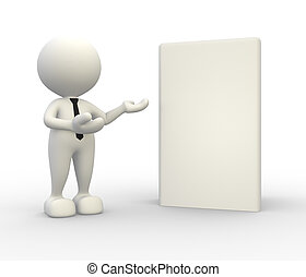 Box - 3d people - man, person present a blank box Concept of...