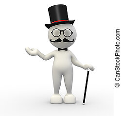 Gentleman - 3d people - man, person with hat and with a cane...