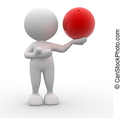 Sphere - 3d people - man, person with a sphere in...