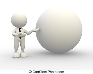 Sphere - 3d people - man, person with a sphere