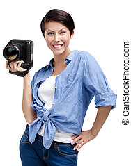 Competent woman-photographer takes snaps -...