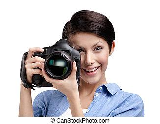 Criativo, girl-photographer, leva, quadros