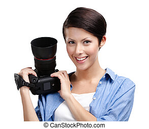 Lady-photographer takes pictures - Lady-photographer takes...