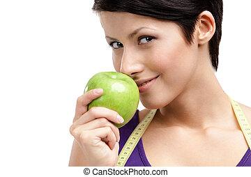 女, 食べること, 健康, 定規, フルーツ, 柔軟である