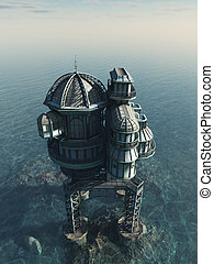 Future World - Sea House - Futuristic science fiction or...