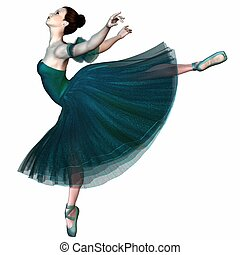 Ballerina in Green - Balancing - Ballerina in a green...