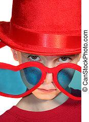 Boy Peeking Condescendingly Over Heart-Shaped Glasses -...