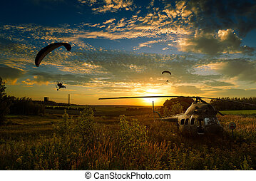 Helicopter crash site - Helicopter crashed in the fields and...