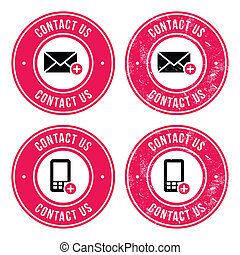 Contact us retro old labels with ph - Red vintage badges set...