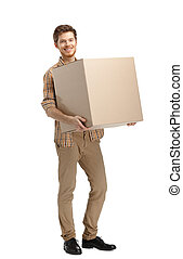 Rounds man with parcel - Rounds man carries the box,...
