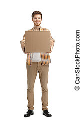 Deliveryman gives the parcel, isolated, white background
