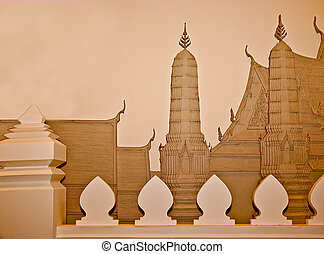 The Relief carving sandstone of temple isolated on white background