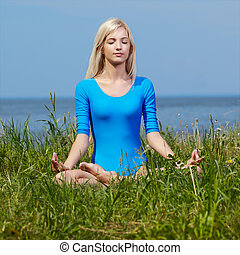 blonde girl gymnast outdoors - outdoor portrait of young...