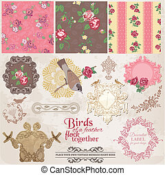 Scrapbook Design Elements - Vintage Flowers and Birds- in...