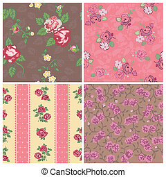 Seamless background Collection - Vintage Flowers - for...